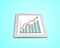 Growth red arrow and chart on tablet. Isolated in green background Stock Photography