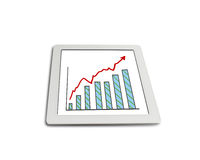 Growth red arrow and chart on tablet isolated in white. Background Royalty Free Stock Image