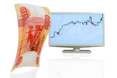 Growth of the the ruble. Stock Photography
