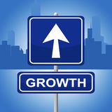 Growth Sign Shows Placard Expansion And Arrow Stock Photo