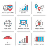 Growth and stability line icons set. Flat line icons set financial security, high productivity, success business workflow, power and energy savings, worldwide Royalty Free Stock Photo
