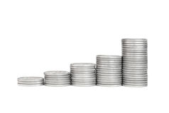 Growth Stack Silver Coin, Success Royalty Free Stock Photo