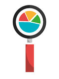 Growth statistics with graphics isolated flat icon. Stock Photography