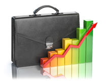 Growth of stock market portfolio concept. Briefcase and graph is. Olated on white background. 3d illustration Stock Image