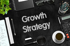 Growth Strategy Concept on Black Chalkboard. 3D Rendering. Growth Strategy Handwritten on Black Chalkboard. 3d Rendering Royalty Free Stock Photography