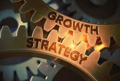 Golden Gears with Growth Strategy Concept. 3D Illustration. Growth Strategy on Mechanism of Golden Gears. Growth Strategy on Mechanism of Golden Metallic Cog Royalty Free Stock Photos