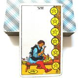 8 Eight of Pentacles Tarot Card Growth Study Learning Scholarships Mentors Teamwork Apprentice Material Growth. Growth Study Learning Scholarships Mentors Stock Illustration