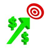 Growth and Success dollar sign. With a red target isolated on white Stock Image