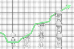 Growth and Success. Dude 3D characters X7 business people pushing up green Graph. Grid background Royalty Free Stock Photos