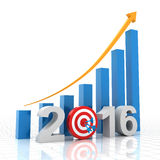 Growth target 2016. 2016 growth target, 3d render, white background Royalty Free Illustration
