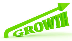Growth text with arrow Royalty Free Stock Photos