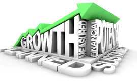 Growth Text And Arrow Royalty Free Stock Photography
