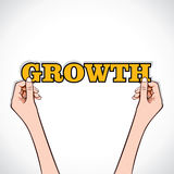 Growth text with hand Stock Images