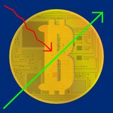 Growth at the top of the Bitcoin crypto currency. vector.  Royalty Free Stock Photos