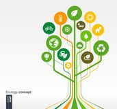 Growth tree eco, earth, green, recycling concept. Abstract ecology background with lines, circles and icons. Growth tree concept with eco, earth, green Stock Image
