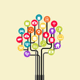 Growth tree technology. Abstract technology background with lines, circles and icons Stock Images