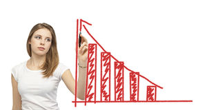 Growth trend. With caucasian woman and red arrow Stock Photos