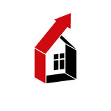 Growth trend of real estate industry. Simple house vector icon Royalty Free Stock Photos