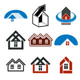 Growth trend of real estate industry, vector simple house icons. Stock Photo