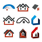 Growth trend of real estate industry, vector simple house icons. Royalty Free Stock Photo