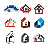 Growth trend of real estate industry, vector simple house icons. Royalty Free Stock Photography