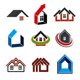 Growth trend of real estate industry, vector simple house icons. Stock Images