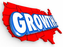 Growth United States America Country Map National USA Increase Stock Photo