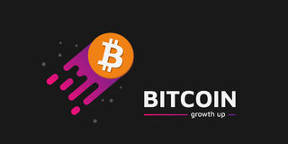 Growth up Coin as a comet. Bitcoin growth up text. Dark bg. Stock Photo