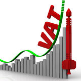 The growth of VAT (Value Added Tax). Concept. Graph of rapid growth in the value of VAT (Value Added Tax). Financial concept. The three-dimensional illustration Stock Photo
