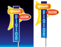 Growth, vision and solution old style retro sign a Stock Photos