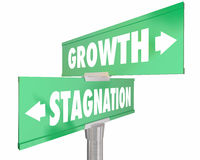 Growth Vs Stagnation Two 2 Way Road Street Signs Stock Photos