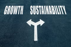 Growth vs sustainability choice concept. Two direction arrows on asphalt Royalty Free Stock Photo