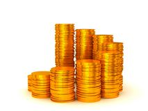 Growth and wealth: coins stacks. Semicircle shape over white Royalty Free Stock Photo