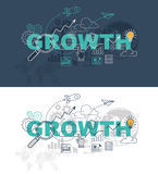 Growth web page banner concept with thin line flat design Royalty Free Stock Photography