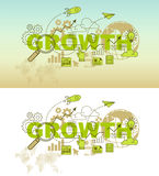 Growth web page banner concept with thin line flat design Stock Photography