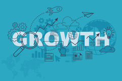 Growth web page banner concept with thin line flat design Stock Images