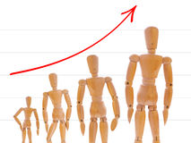 Growth of wooden mans. On white with graph. Concept of career, growth and evolution Stock Image