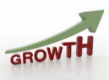 Growth Word with Arrow, 3D Motivation Concept Royalty Free Stock Photography
