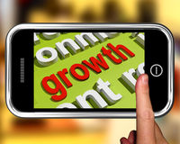 Growth In Word Cloud Phone Means Get Better Bigger And Developed Stock Photography