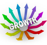 Growth Word and Colorful Arrows Stock Photos