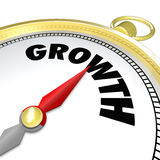 Growth Word Gold Compass Arrow Pointing to Word. The word Growth on a gold compass symbolizing advancement, increasing, new opportunities in business and life Stock Photography