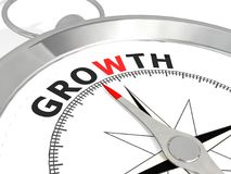 Growth word on metallic compass. 3D rendering Royalty Free Stock Images