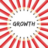 Growth word with pencil background. Illustration of Growth word with pencil background Royalty Free Stock Images