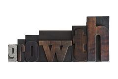 Growth, word written in vintage printing blocks Royalty Free Stock Photography