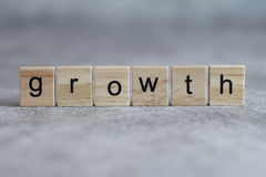 Growth word written on wood cube Royalty Free Stock Images