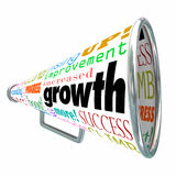 Growth Words Bullhorn Megaphone Increase Improve Rise Up. Growth words on a bullhorn or megaphone including improve, increase, rise, boost, expand and advance to Stock Image