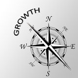 Growth written aside compass. Illustration of Growth written aside compass Stock Photos