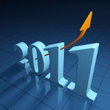 Growth for year 2011. Bright financial outlook for the year 2011 - 3d render Royalty Free Stock Photography