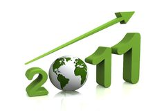 Growth of year 2011 with 3D globe. Replacing number 0 Stock Image