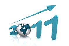 Growth of year 2011 with 3D globe. Replacing number 0 Royalty Free Stock Images